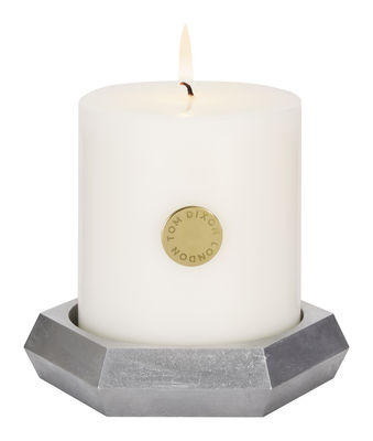 Bougie parfumée Alloy Pillar / Set bougie + bougeoir fonte aluminium - Tom Dixon argent en métal