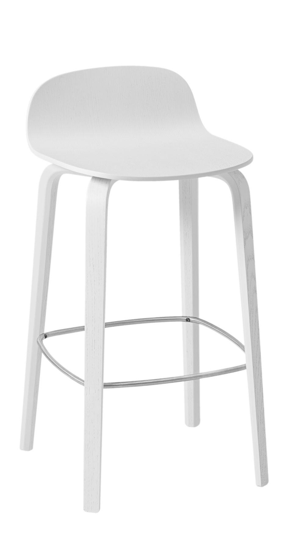 Visu Bar Stool Wood H 65 Cm White Steel Footrest By Muuto