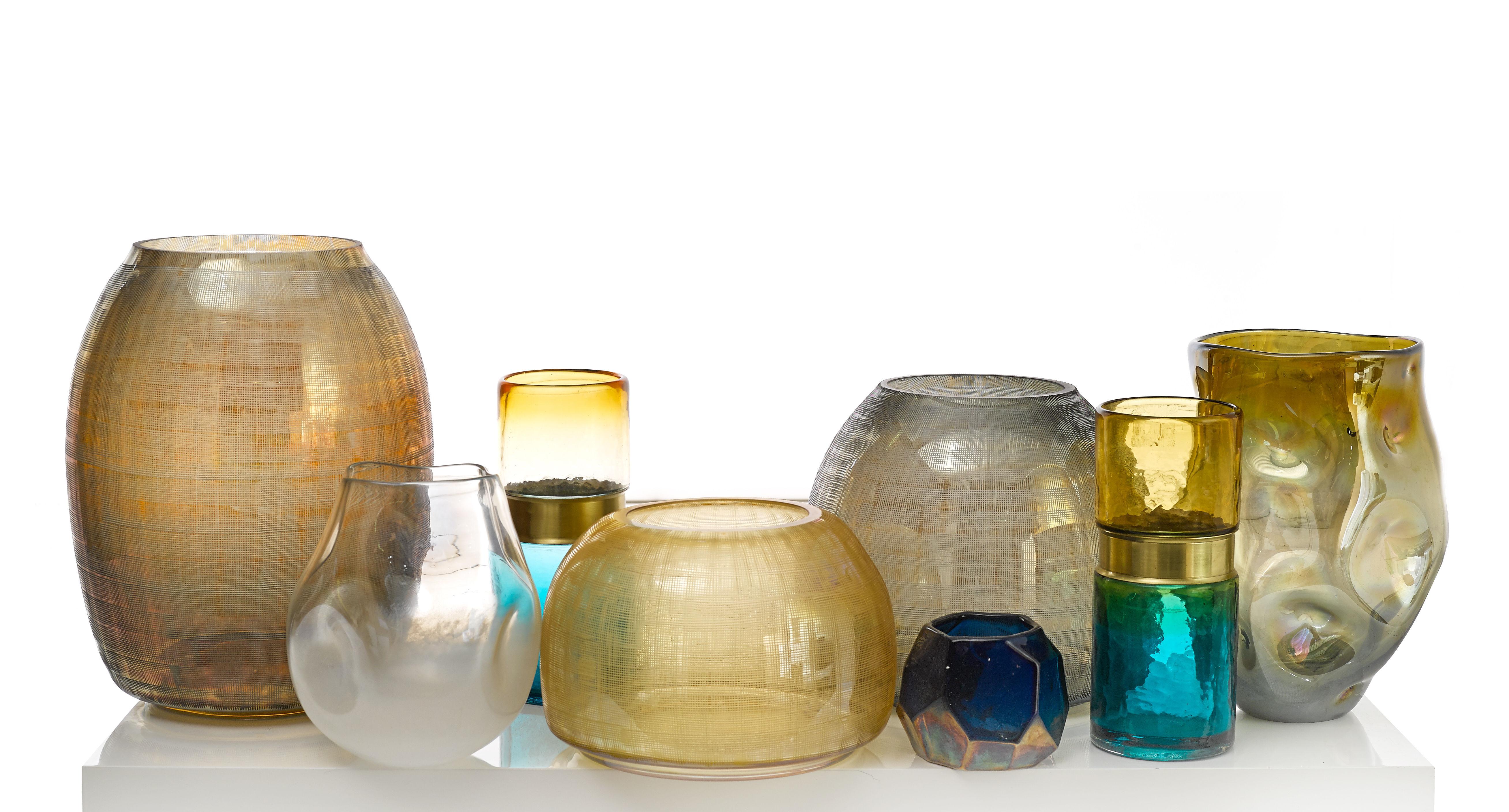 belt vase glass brass h 26 cm blue amber brass by pols potten made in design uk. Black Bedroom Furniture Sets. Home Design Ideas