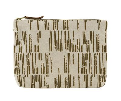 Accessoires - Sacs, trousses, porte-monnaie... - Trousse à maquillage Row / 23 x 16 cm - House Doctor - Ecru & ocre - Coton