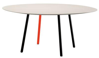 Table Maarten / Ø 120 cm - Viccarbe blanc,noir,orange fluo en métal