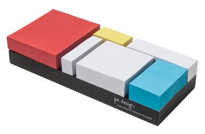 Accessoires - Accessoires bureau - Notes adhésives Monde Riant / Set 6 blocs - Pa Design - Rouge, jaune, bleu et blanc - Carton, Papier