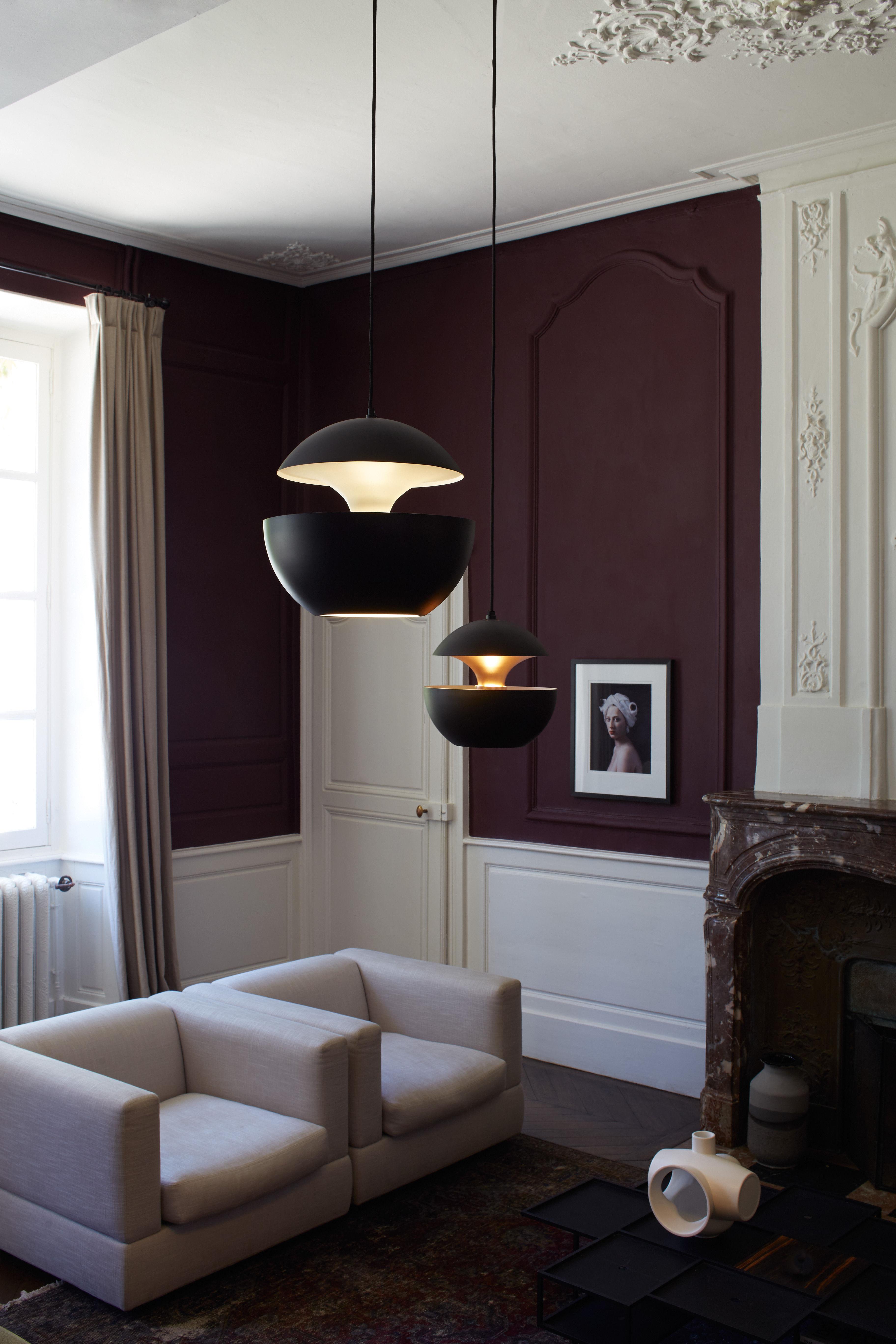 suspension here comes the sun 35 cm r dition 1970 noir int rieur cuivre dcw ditions. Black Bedroom Furniture Sets. Home Design Ideas