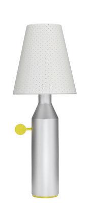 Luminaire - Lampes de table - Lampe de table Vulcain / Acier perforé - H 45 cm - La Chance - Gris aluminium / Abat-jour blanc - Acier laqué, Acier perforé