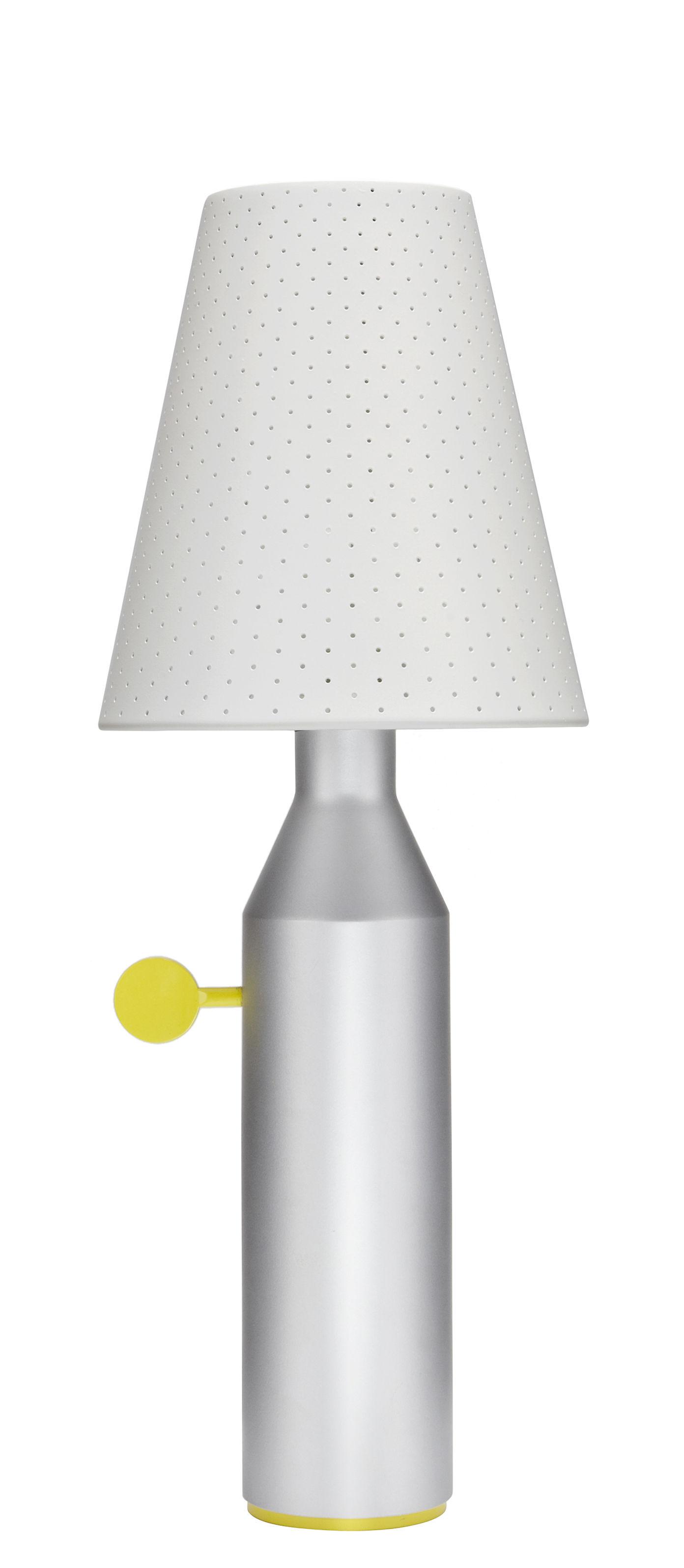 lampe de table vulcain acier perfor h 45 cm gris aluminium abat jour blanc la chance. Black Bedroom Furniture Sets. Home Design Ideas