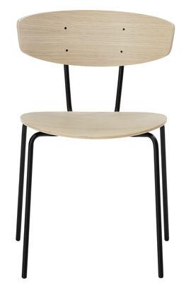 Mobilier - Chaises, fauteuils de salle à manger - Chaise empilable Herman / Bois & métal - Ferm Living - Chêne naturel - Acier laqué époxy, Contreplaqué de chêne