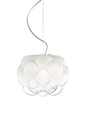 Luminaire - Suspensions - Suspension Cloudy / Ø 26 cm - Fabbian - Blanc & transparent - Aluminium moulé sous pression, Verre soufflé