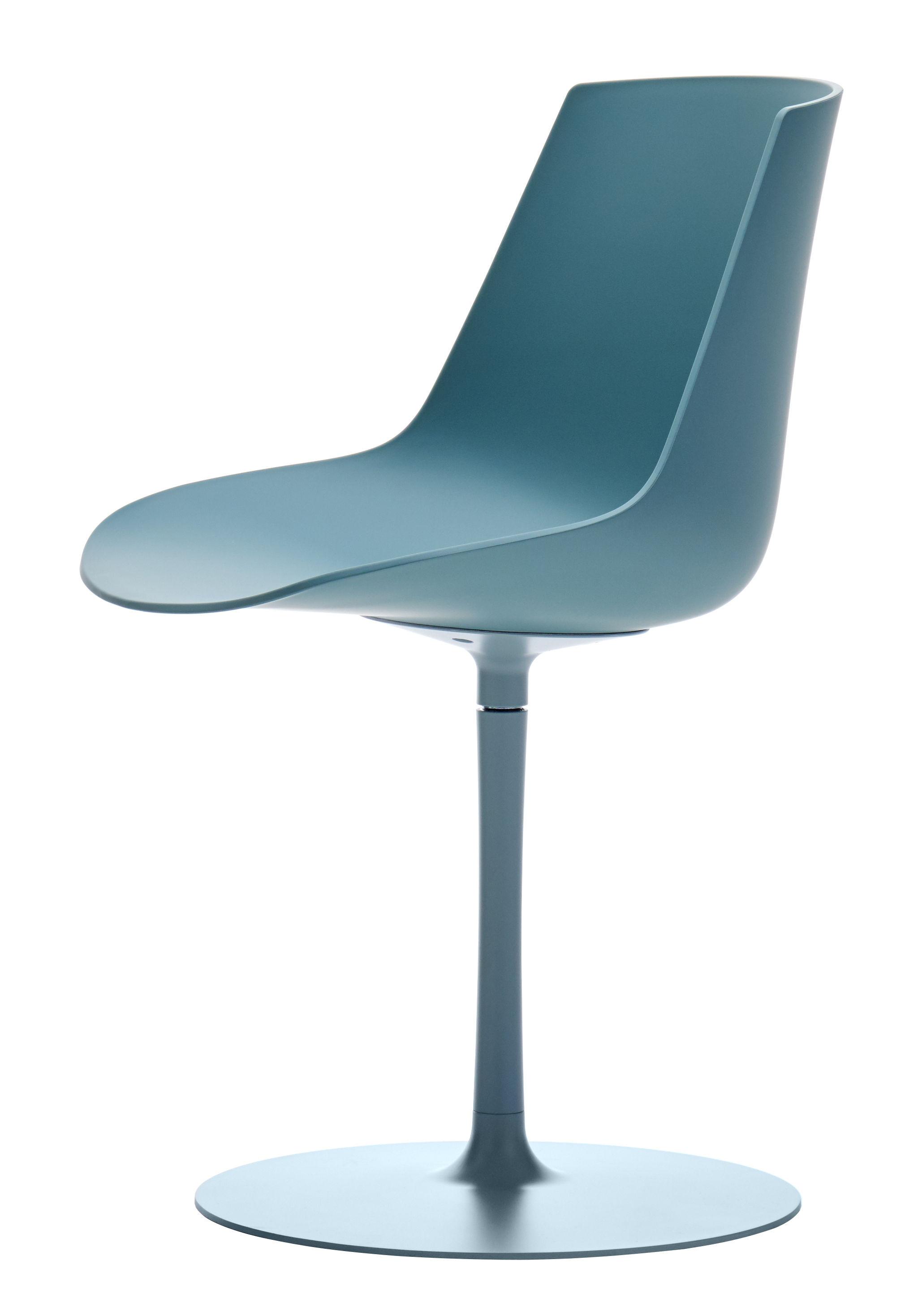 chaise pivotante flow color pied central bleu aviateur mdf italia. Black Bedroom Furniture Sets. Home Design Ideas