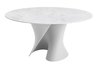 Mobilier - Tables - Table S / Ø 140 cm - Plateau marbre - MDF Italia - Marbre blanc / Base blanche - Cristalplant, Marbre Namibia