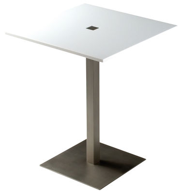 Furniture - Tables - Slam Table by Zeus - Glossy white - 60x60 cm - Acrylic resin, Sandy steel