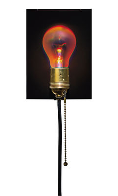 Lighting - Wall Lights - Holonzki Wall light with plug by Ingo Maurer - Red hologram / Black cable - Brass, Glass