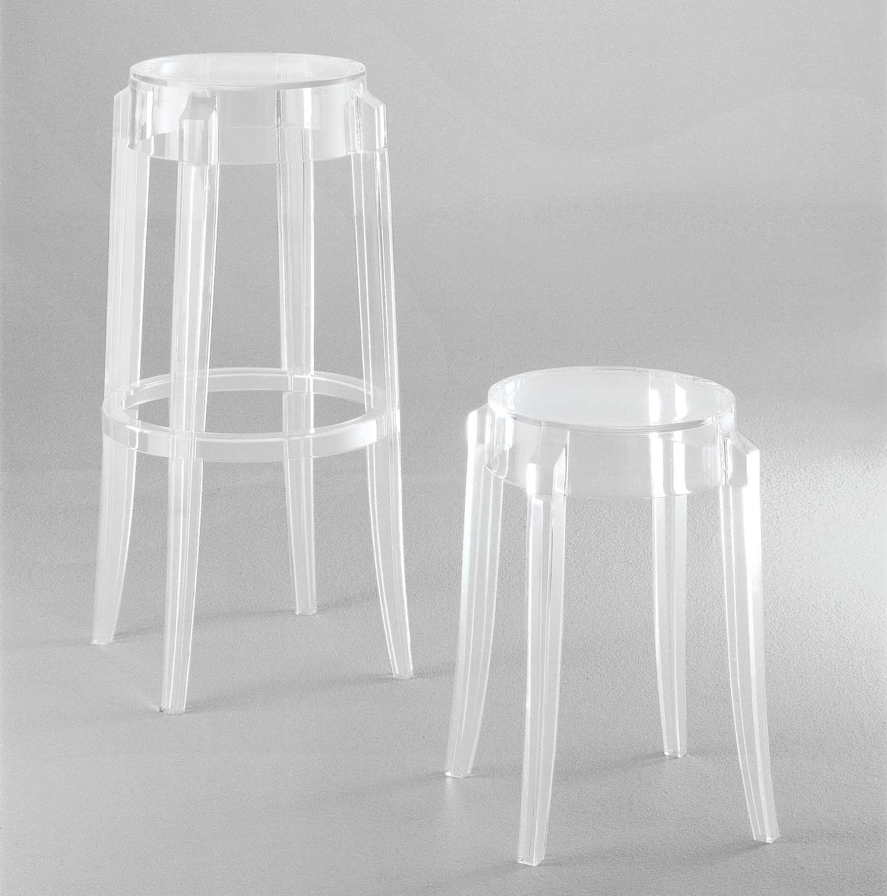 tabouret empilable charles ghost h 46 cm plastique. Black Bedroom Furniture Sets. Home Design Ideas