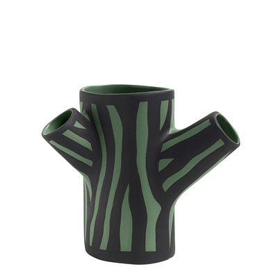 Vase Tree Trunk Small H 15 cm / Dipinto a mano - Hay vert foncé en céramique