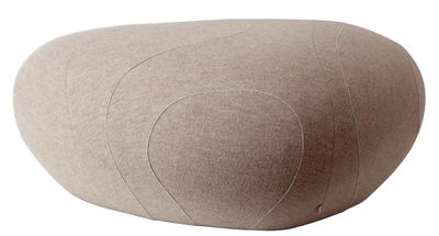 Furniture - Teen furniture - Monica Livingstones Pouf - Woollen version - Indoor use by Smarin - Light brown with edging - Bultex, Wool