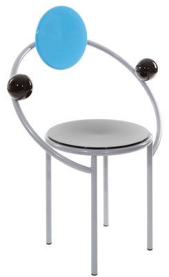 Mobilier - Chaises, fauteuils de salle à manger - Fauteuil First by Michele De Lucchi / 1983 - Memphis Milano - Bleu, noir, acier - Bois laqué, Métal