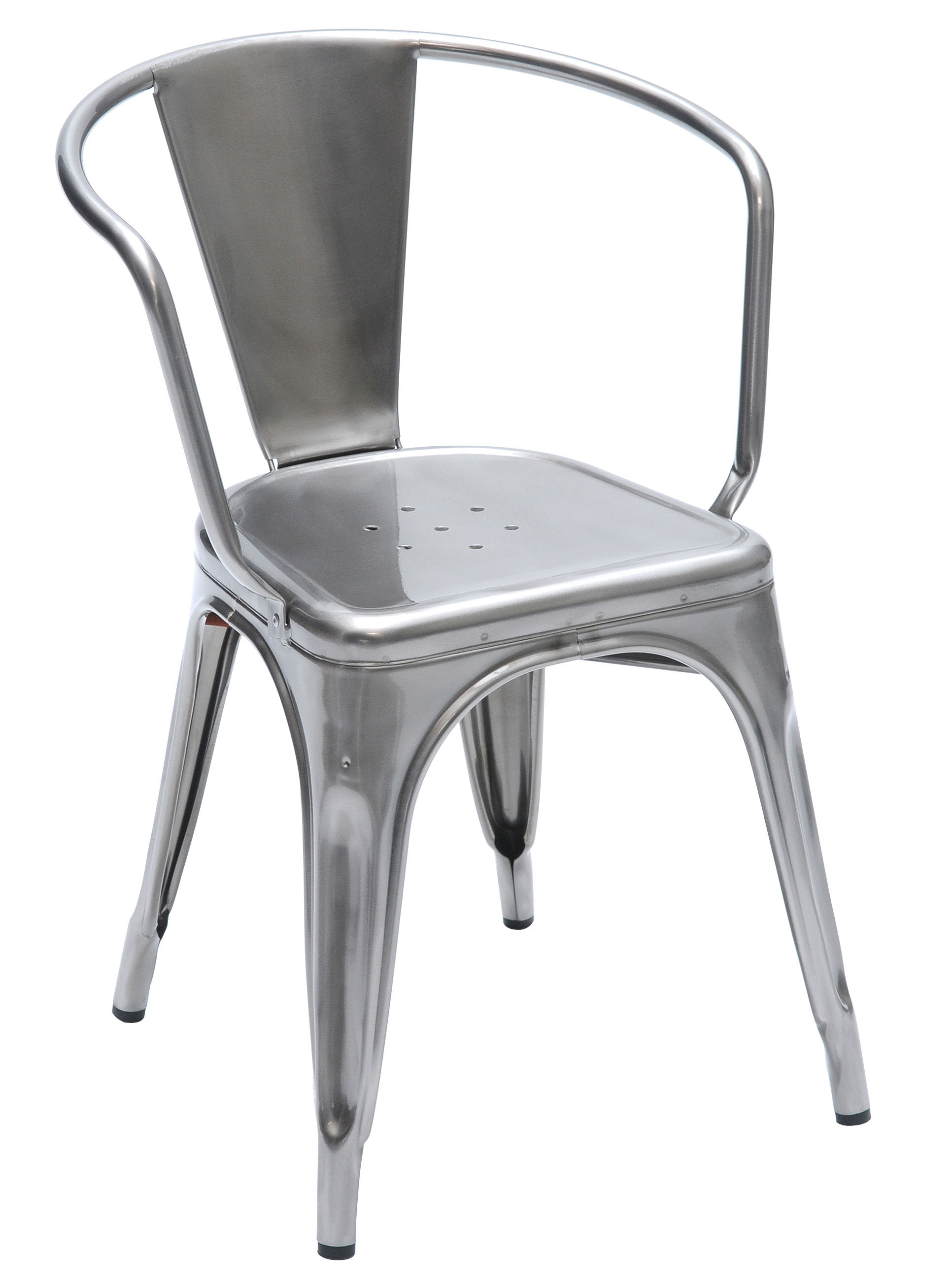 A56 stackable armchair steel indoor raw glossy varnished by tolix - Chaise ancienne avec accoudoir ...