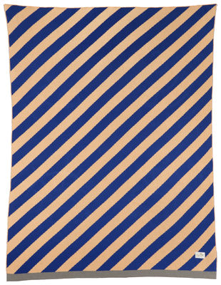 Foto Plaid per bambini Little Stripe - / 80 x 100 cm di Ferm Living - Rosa,Blu scuro - Tessuto