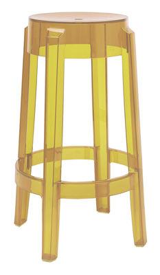 tabouret haut empilable charles ghost h 65 cm plastique jaune kartell. Black Bedroom Furniture Sets. Home Design Ideas
