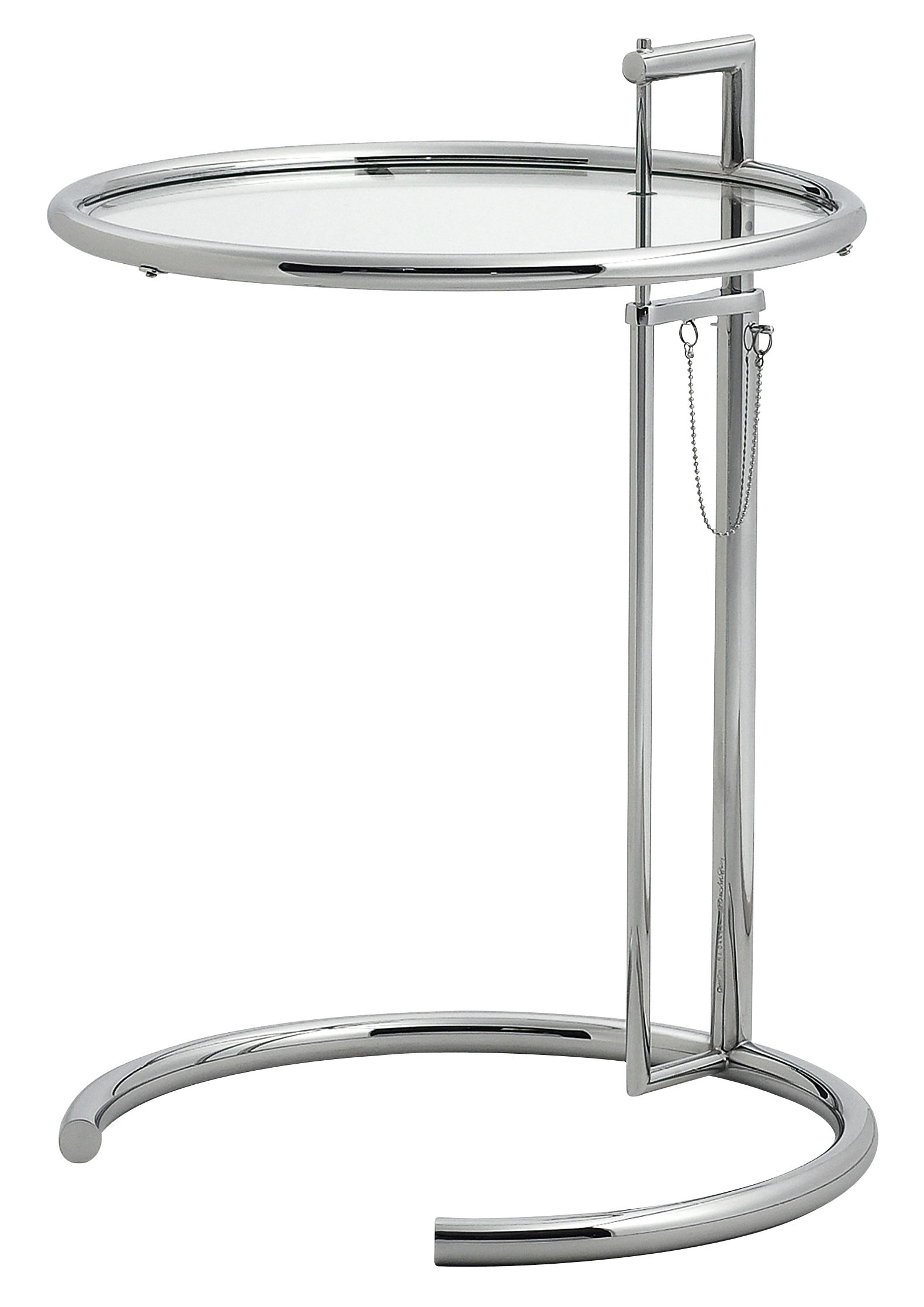table d 39 appoint e 1027 r dition 1927 hauteur r glable chrom verre transparent. Black Bedroom Furniture Sets. Home Design Ideas