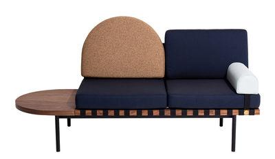 Canapé 2 places Grid Villégiature P.F. Modulable L 187 cm Petite Friture bleu,marron clair,vert d'eau,bois foncé en tissu