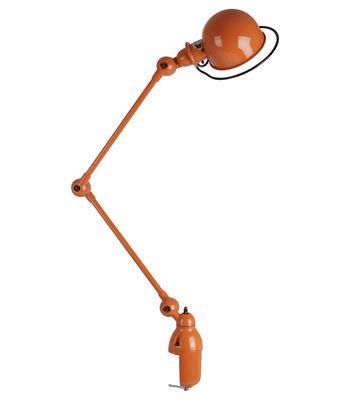 Lampe de table Loft /Base étau - 2 bras articulés - H max 80 cm - Jieldé orange brillant en métal