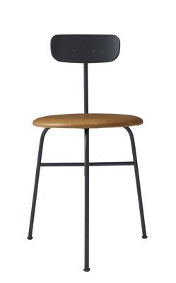Chaise rembourrée Afteroom Cuir bois Menu noir,cognac en métal