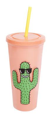 Gobelet isotherme Cool cactus / Paille et couvercle - Edition limitée - Sunnylife jaune,vert,corail en matière plastique