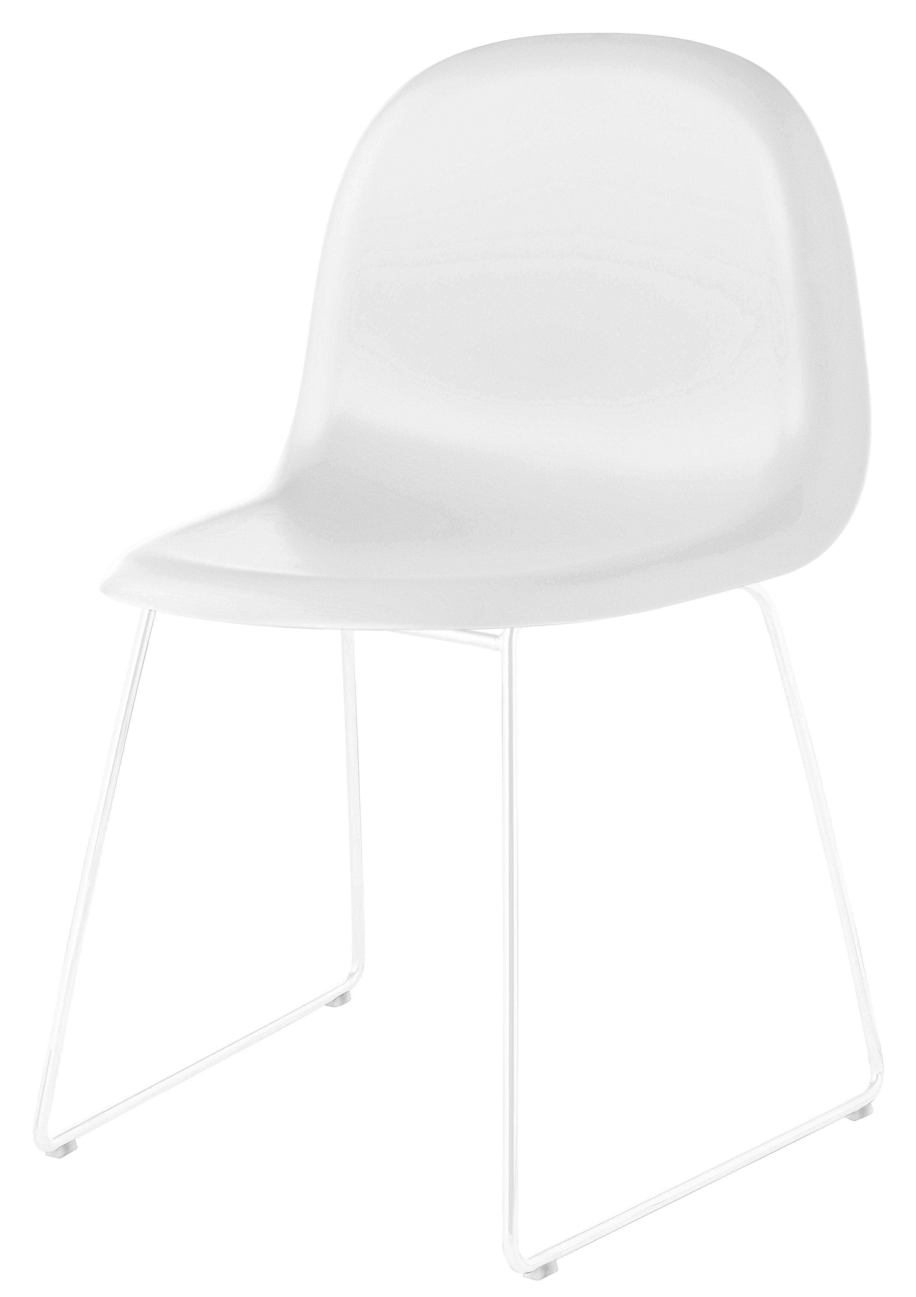 chaise gubi 1 coque plastique pieds m tal coque blanche pi tement blanc gubi. Black Bedroom Furniture Sets. Home Design Ideas