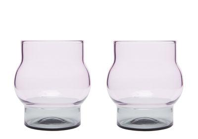 Verre Bump Small / H 9 cm - Set de 2 - Tom Dixon rose,gris fumé en verre