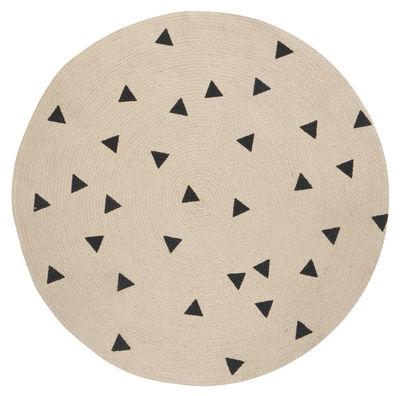 Déco - Tapis - Tapis Triangles / Ø 100 cm - Ferm Living - Noir / Triangles - Jute