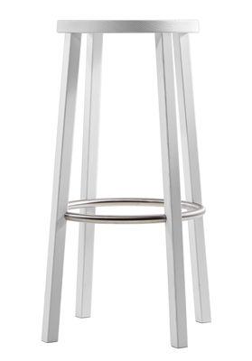 Tabouret de bar Blocco / Bois - H 76 cm - Plank blanc en bois