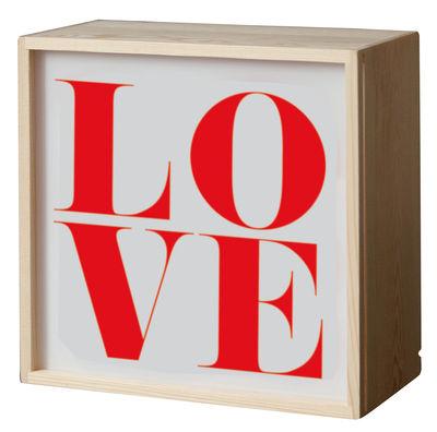 Foto Lampada da tavolo Lighthink box - /  Applique - 4 lati intercambiabili - 21 x 21 cm di Seletti - Multicolore,Legno chiaro - Materiale plastico
