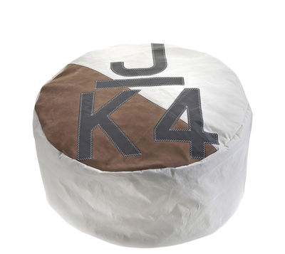 727 SAILBAGS Duo Pouf - Ø 72 cm /Recycled boat sail. White,Grey,Beige