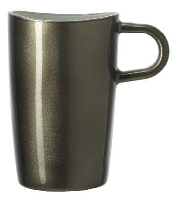 Tasse Loop à Macchiato / H 12 cm - Leonardo gris métallisé en verre