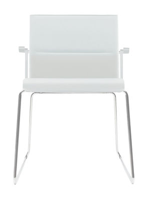 Furniture - Chairs - Stick Chair Padded armchair - Leather by ICF - White leather / Chromium base / White lacquered structure & arms - Aluminium, Leather, Steel, Thermoplastic