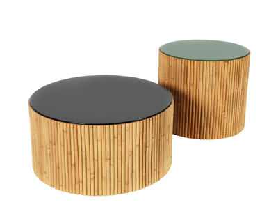 Table basse Riviera Duo / Set de 2 - Ø 60 & Ø 45 cm - Maison Sarah Lavoine vert,radis noir en bois