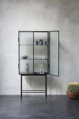vitrine haze l 70 x h 155 cm verre arm m tal verre translucide noir ferm living. Black Bedroom Furniture Sets. Home Design Ideas