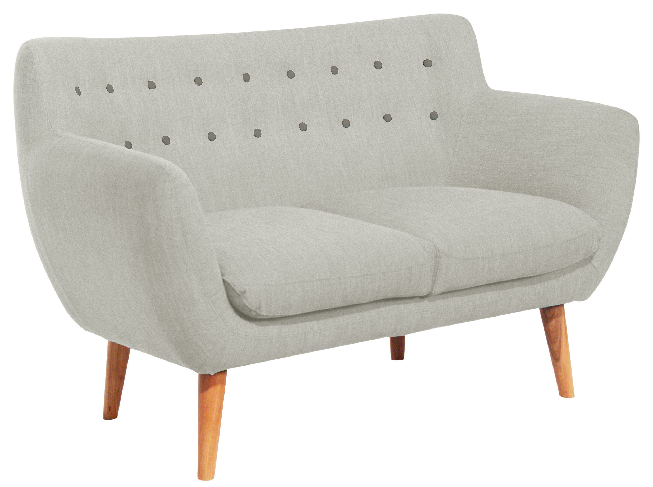canap droit coogee 2 places l 132 cm gris pierre boutons caf noir sentou edition. Black Bedroom Furniture Sets. Home Design Ideas