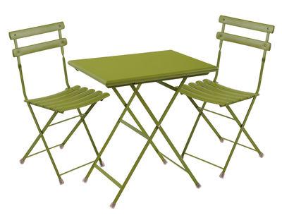 Set table & chaises Arc en Ciel / Table 70x50cm + 2 chaises - Emu vert en métal