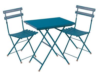 Set table & chaises Arc en Ciel / Table 70x50cm + 2 chaises - Emu bleu azur en métal