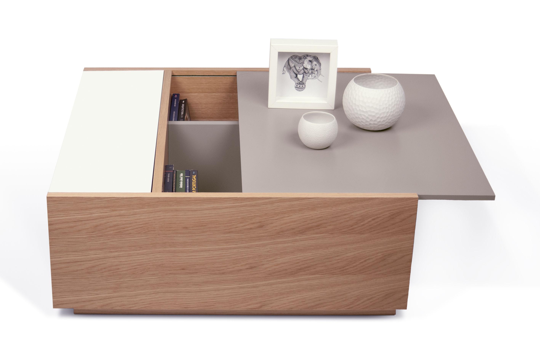 table basse amsterdam coffre de rangement ch ne plateau gris blanc pop up home. Black Bedroom Furniture Sets. Home Design Ideas