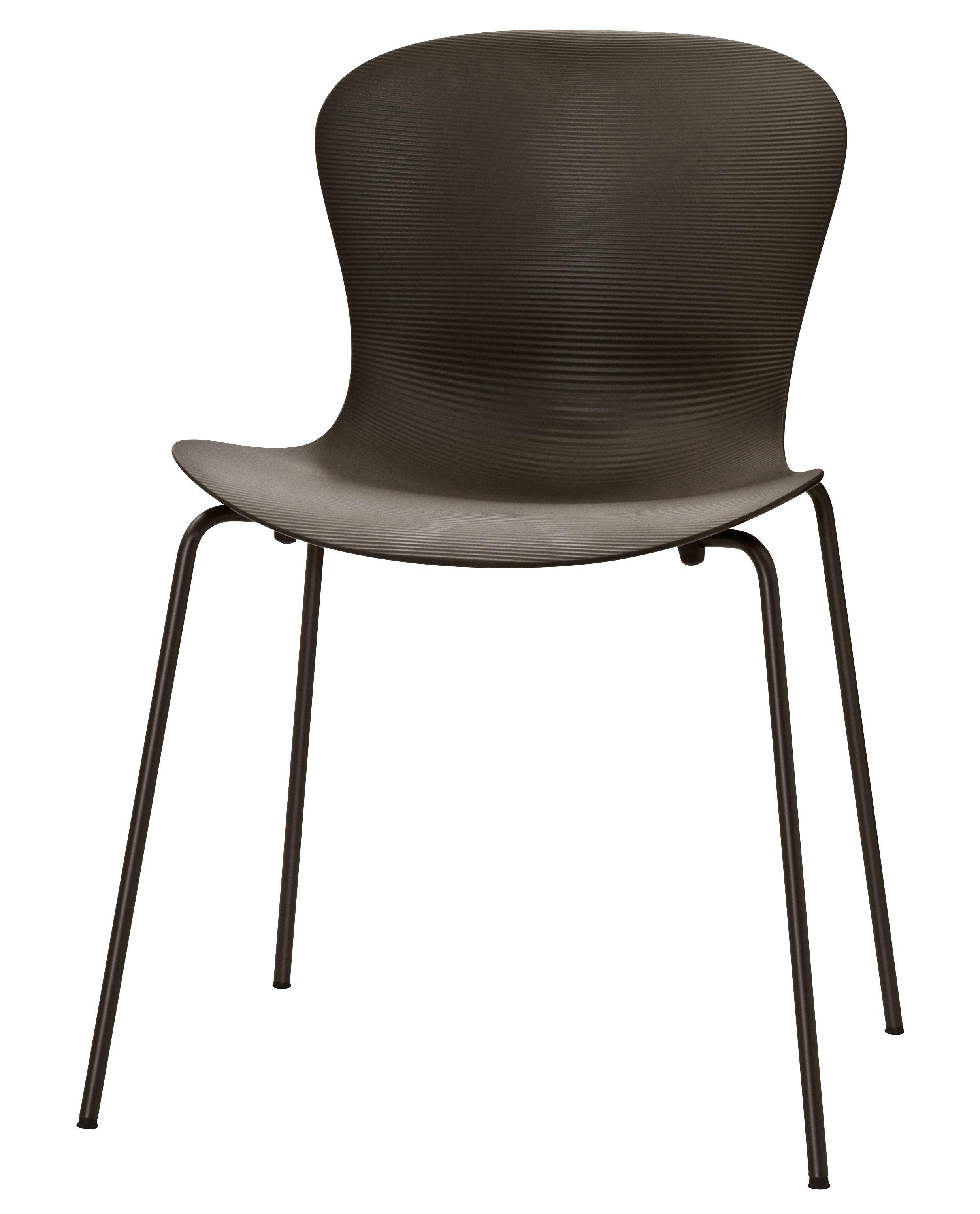 chaise empilable nap 4 pieds acier marron fritz hansen. Black Bedroom Furniture Sets. Home Design Ideas