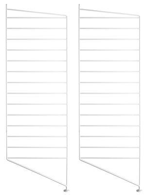Mobilier - Etagères & bibliothèques - Montant de sol String system / H 85 x P 30 cm - Set de 2 - String Furniture - Blanc - Acier laqué