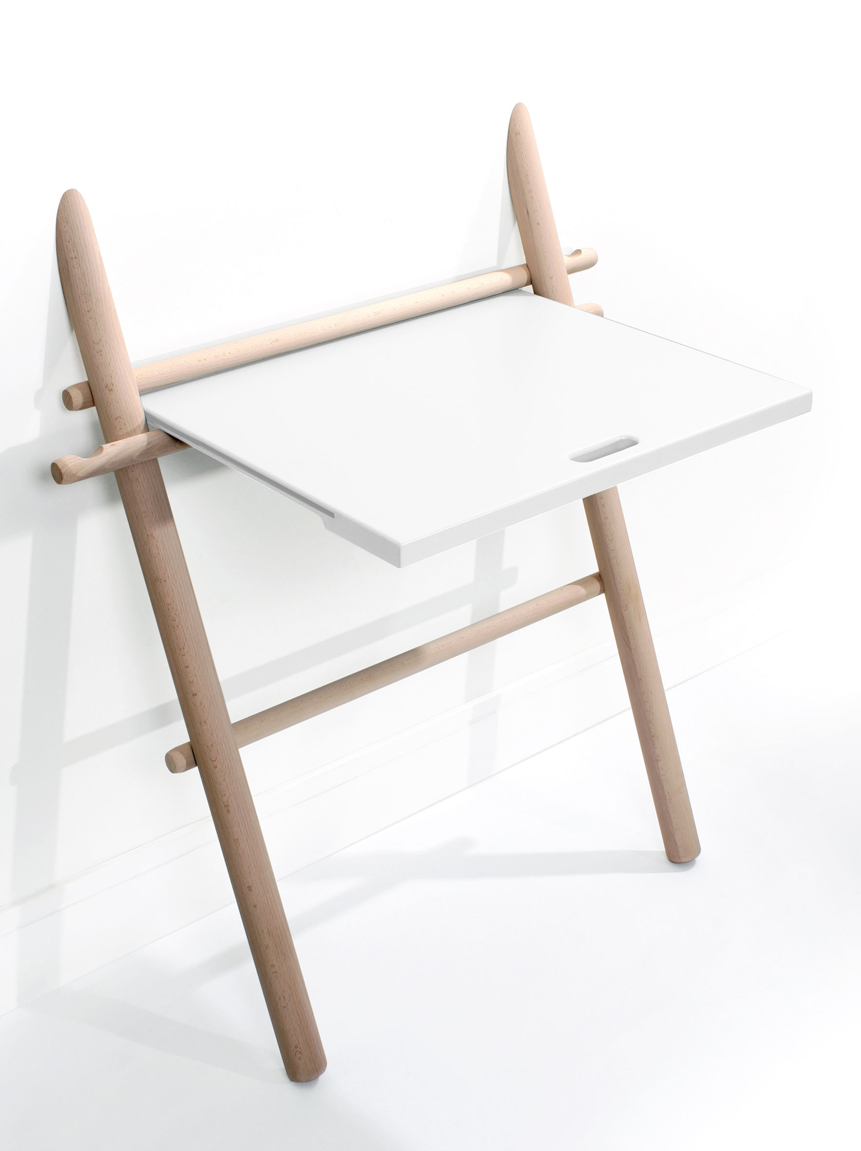 bureau appunto pliable table d 39 appoint h tre plateau blanc enostudio. Black Bedroom Furniture Sets. Home Design Ideas