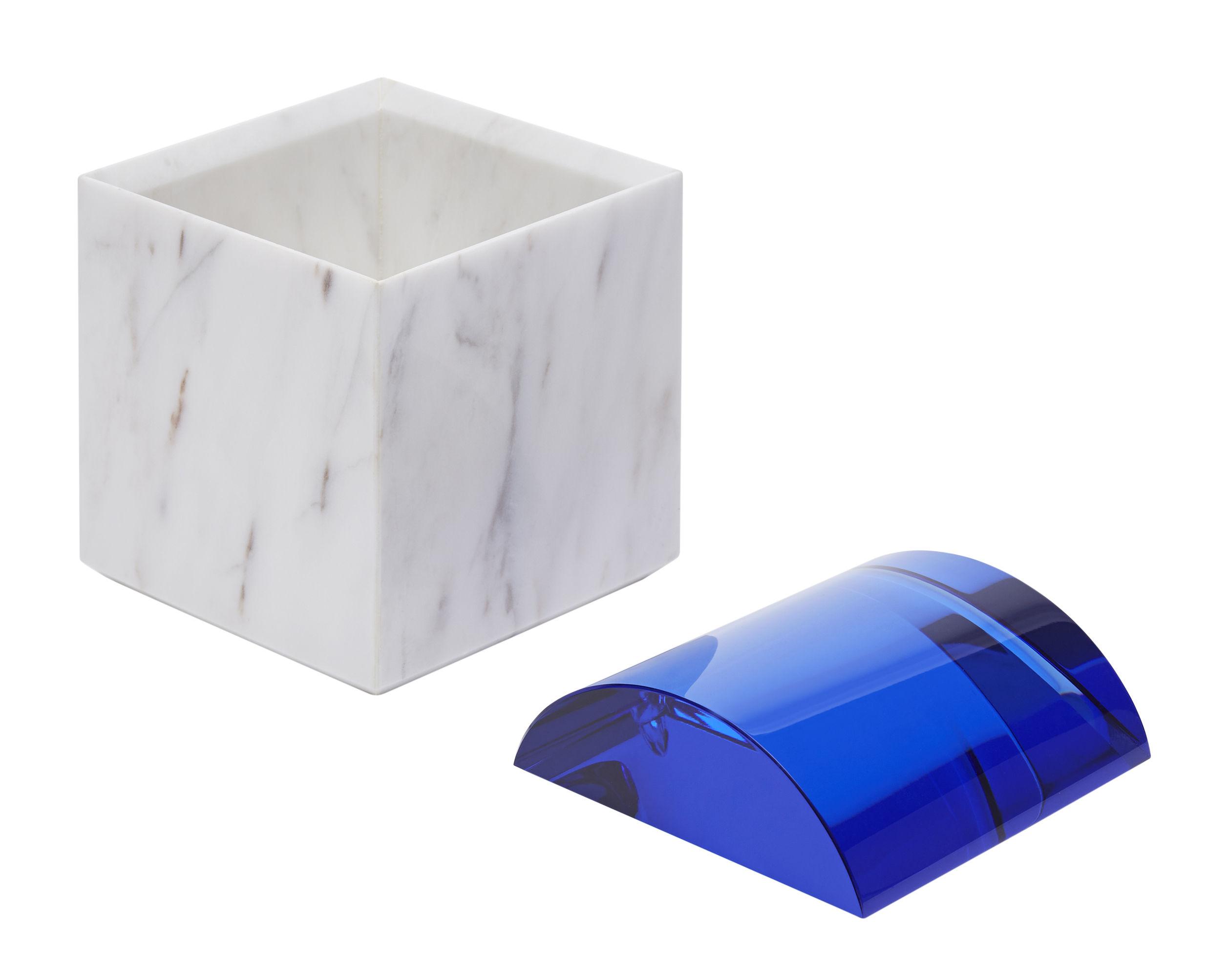Bo te lid curve marbre verre marbre blanc bleu tom for Boite a couture curver