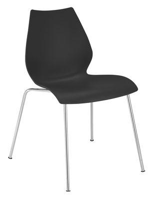 Chaise empilable Maui / Plastique & pieds métal - Kartell anthracite en matière plastique