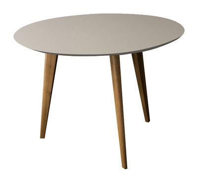 Table basse Lalinde large Ø 55 cm / Pieds bois - Sentou Edition gris clair,chêne en bois
