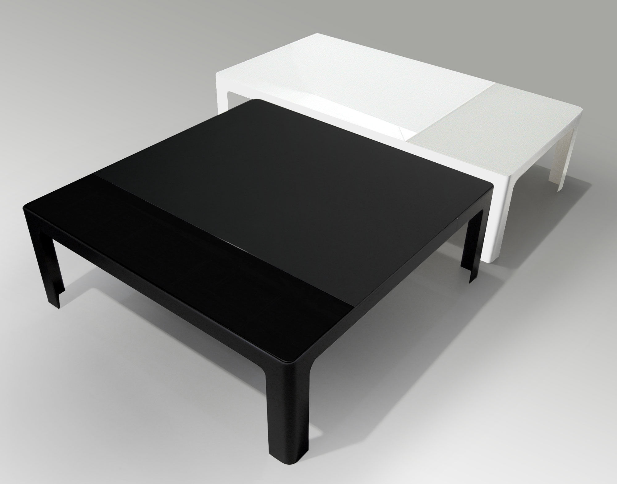 Metisse coffee table 130 x 70 cm white frame glossy for Coffee table 70 x 70
