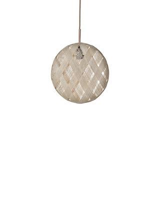 Luminaire - Suspensions - Suspension Chanpen Diamond / Ø  19 cm - Forestier - Beige / Motifs losanges - Abaca tissé