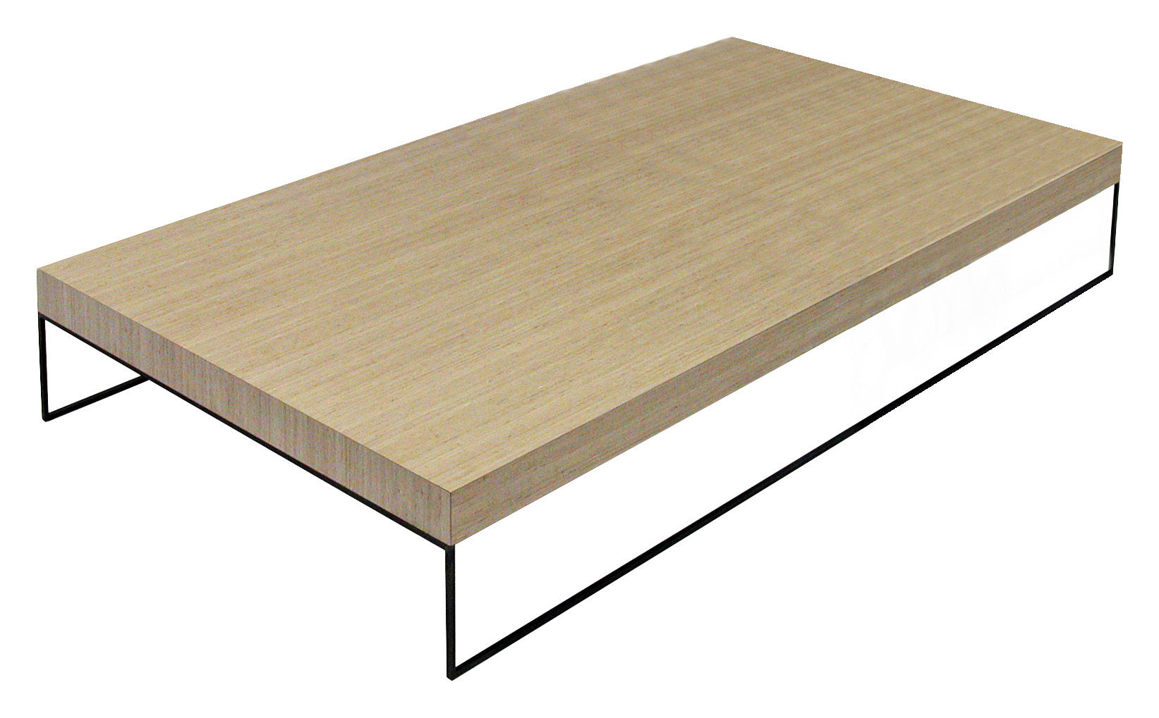 Table Basse Home Bois Clair Et Acier Noir 120 X 80 Cm Zeus